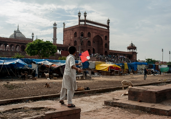 Kite flying at Jama Masjid